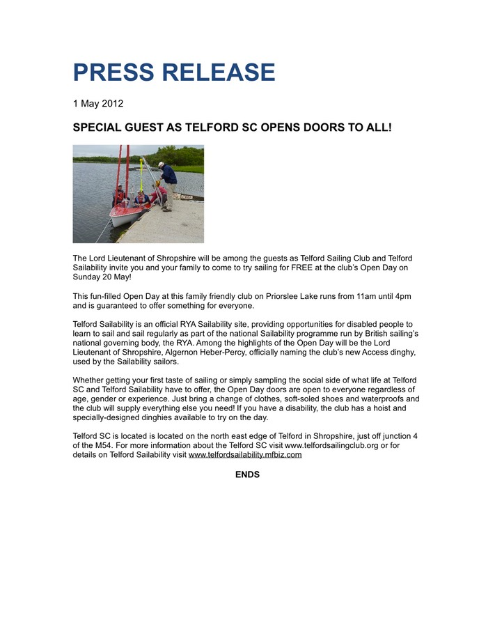 Open Day Press Release
