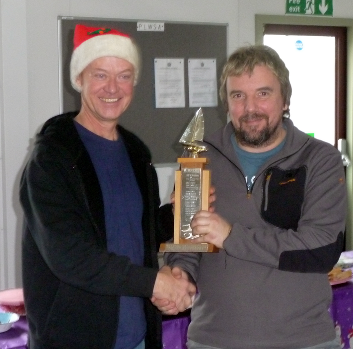 A fine win - Glyn congratulates Colin on his victory in the Christmas Cup 2013 race!